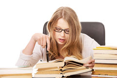 Young woman learning to exam Stock Photo