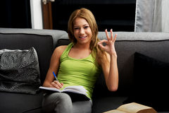 Young woman learning to exam on a sofa. Stock Photography