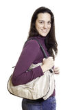 Young woman with leather bag Stock Image