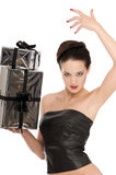 Young woman in leather corset Royalty Free Stock Photos