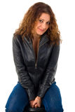 Young Woman In Leather Jacket. Stock Photos