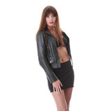 Young woman in leather jacket Royalty Free Stock Photo