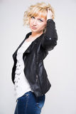 Young woman in leather jacket. Young blonde woman wearing black leather jacket Stock Photos
