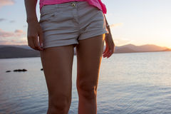Young woman legs closeup royalty free stock images