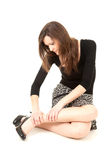 Young woman with legs pain, full length Royalty Free Stock Photography