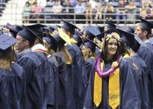 A Young Woman in a Lei at University Graduation. FLAGSTAFF, ARIZONA, MAY 13. Northern Arizona University on May 13, 2016, in Flagstaff, Arizona. A young woman Stock Images