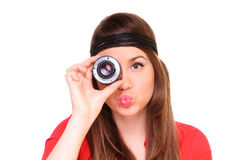 Young woman with a lens Royalty Free Stock Photos