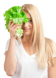 Young woman with lettuce Royalty Free Stock Photo
