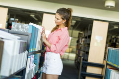 Young woman in the library Stock Images