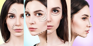 Young woman with lifting arrows on face. Royalty Free Stock Images