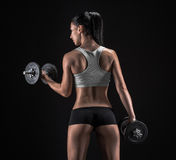 Young woman lifting the dumbbells Royalty Free Stock Photography