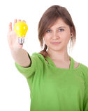 Young woman with light bulb Stock Image