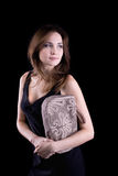 Young woman with linen handbag Royalty Free Stock Image