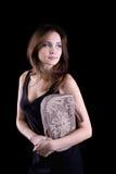Young woman with linen handbag Royalty Free Stock Image
