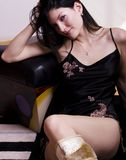 Young woman in lingerie and boots Royalty Free Stock Photo