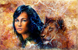 Young woman and lion cub. Woman Portrait with long Stock Images