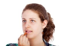 Young woman with lipstick Royalty Free Stock Photo
