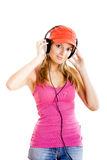 Young woman listen music Stock Photography