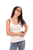Young woman listen music Royalty Free Stock Photo