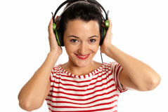 Young woman listen music headphones isolated white royalty free stock image