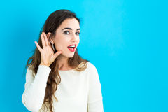 Young woman listening Stock Photos