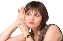 Young woman listening gossip Royalty Free Stock Photo
