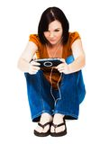 Young Woman Listening Media Player Royalty Free Stock Image