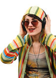 Young woman listening music. Stock Images