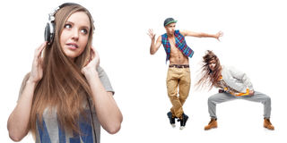 Young woman listening music and two dancers on background Royalty Free Stock Photos