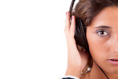 Young woman listening to music Stock Images
