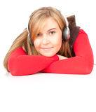 Young woman listening to music with headphones Stock Photo