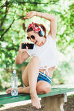 Young woman listening to the music Royalty Free Stock Photo