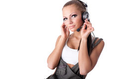 The young woman listens to music Royalty Free Stock Photography