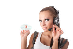 The young woman listens to music Royalty Free Stock Photo
