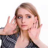 Young Woman Listnening Gesture Royalty Free Stock Photography