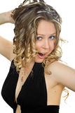 Young woman in little black dress. Royalty Free Stock Images