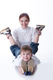 Young Woman And Little Boy stock photography