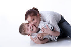 Young Woman And Little Boy royalty free stock photos