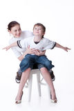 Young Woman And Little Boy royalty free stock photo