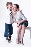 Young Woman And Little Boy Stock Images