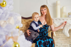 Young woman and a little boy Royalty Free Stock Image