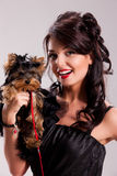 Young Woman With A Little Dog Stock Photography