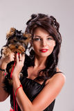 Young Woman With A Little Dog Stock Image
