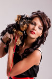 Young Woman With A Little Dog Royalty Free Stock Photo