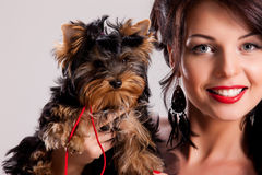 Young Woman With A Little Dog Royalty Free Stock Photos