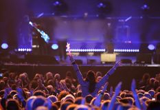 Young woman at live concert Royalty Free Stock Photos