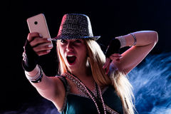 Young woman living a live event online Royalty Free Stock Image