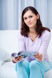 Young woman in the living room Royalty Free Stock Photo