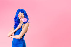 Young woman with lolipop Royalty Free Stock Photography