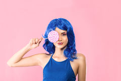 Young woman with lolipop Royalty Free Stock Image